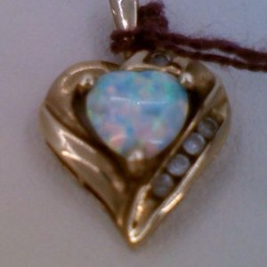 10K Yellow Gold CZ Opal Heart Shaped Pendant Charm